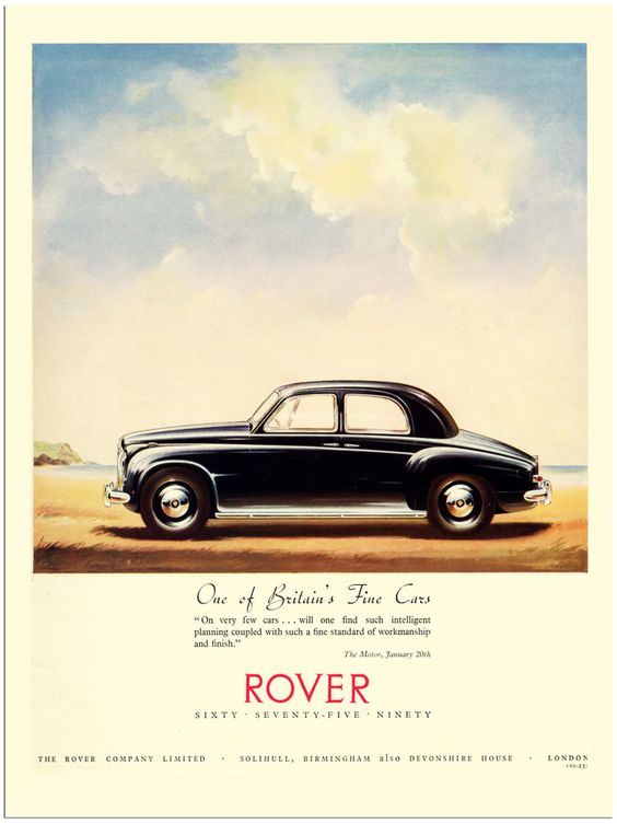 AP1046 - Rover, Vintage Car Advertisement 1950s (30x40cm Art Print)
