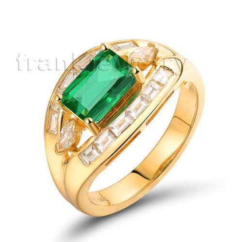 Solid-18K-Yellow-Gold-Diamond-Emerald-Cut-6x8-mm-Green-Emerald-Gemstone-Ring