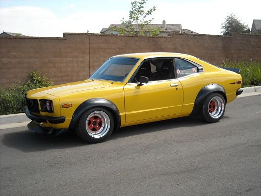 mazda rx3. my first car. had a rotary engine and was yellow too