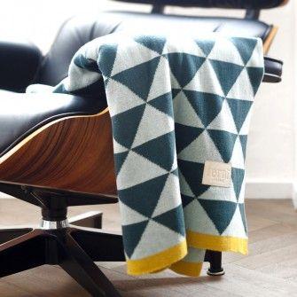 Plaid coton Bleu Remix 120x150cm - Ferm Living - Deco-smart.com