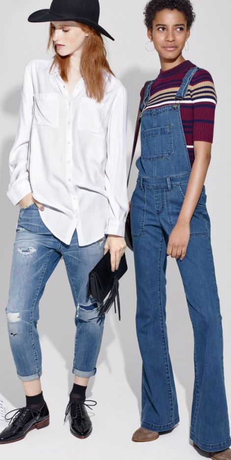 flare overalls and destroyed boyfriend jeans