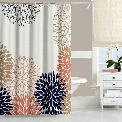 Chrysanthemum Shower Curtain And Bath Mat Set In Blue And Pink