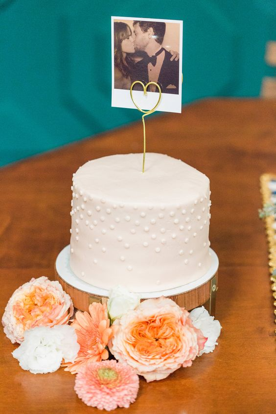 Single Tier Wedding Cake with Polaroid Cake Topper - Amy Fanton Photography | Turquoise, Coral & Gold Wedding in California