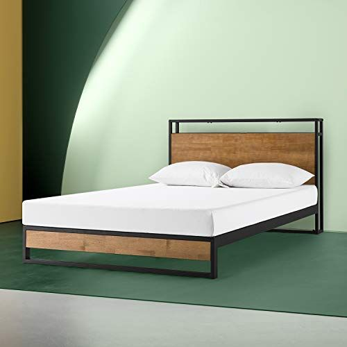 Zinus Suzanne Metal And Wood Platform Bed With Headboard Shelf