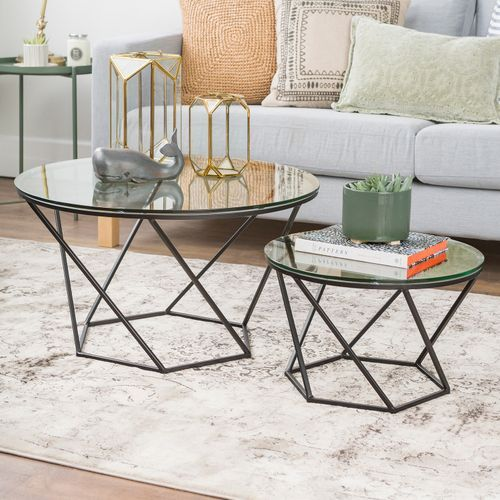 Geometric Black Glass Nesting Coffee Tables Modern Coffee Table
