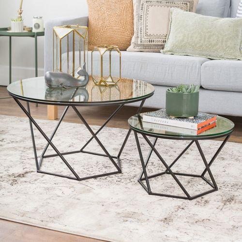 Geometric Black Glass Nesting Coffee Tables Modern Coffee Table Sets Nesting Tables Round Glass Coffee Table