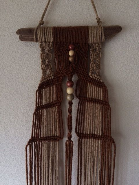 Klamath Driftwood Macrame Wall Hanging Tan/Rust by JillGlidden  #jillgliddenonetsy #walldecor #gowestdesign #boho #bohemian #retro #festival #bohodecor #bohodesign #freepeople #handmade #nature #natural #beach #beaded