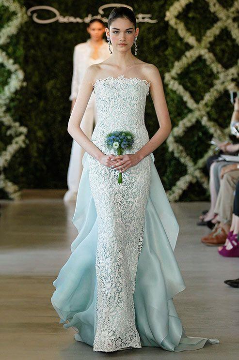 Oscar de la Renta blue wedding dress, Spring 2013. See more #wedding fashion & beauty: http://ccwed.me/KIp6ZC