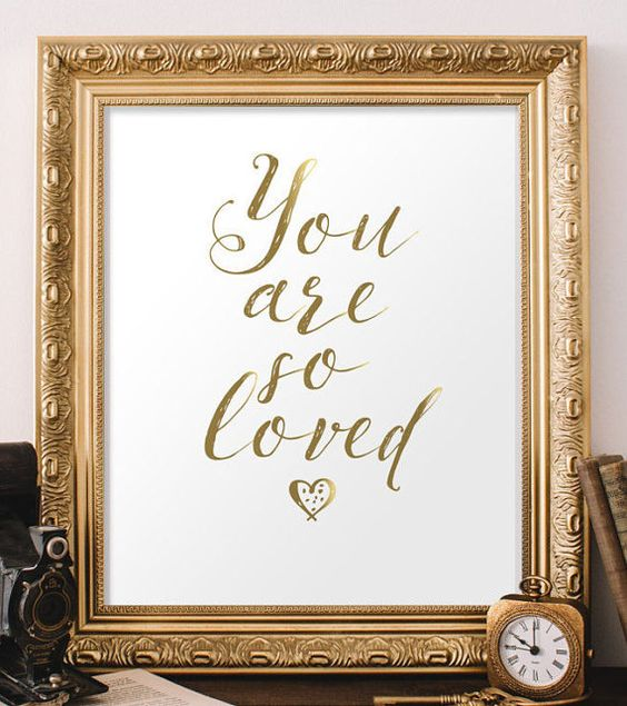 Gold and White Printable Art You Are So Loved von TwoBrushesDesigns