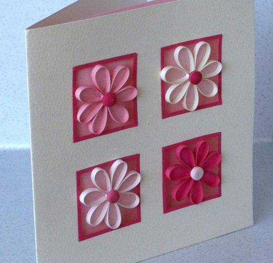 Daisy Quilled Card Carte - Fleurs en paperolles