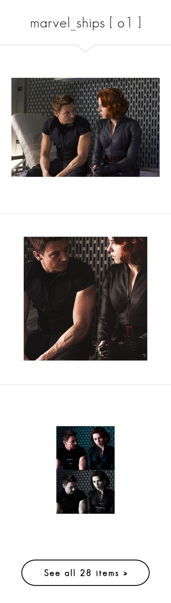 """""""marvel_ships [ o1 ]"""" by sofie-dreamy ❤ liked on Polyvore featuring avengers, marvel, people, black widow, natasha romanoff, hawkeye, superheroes, pictures, clintasha and black and white"""