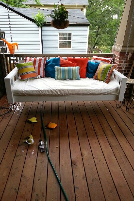 Porch swing beds swing beds and porch swings on pinterest for Swing bed plans
