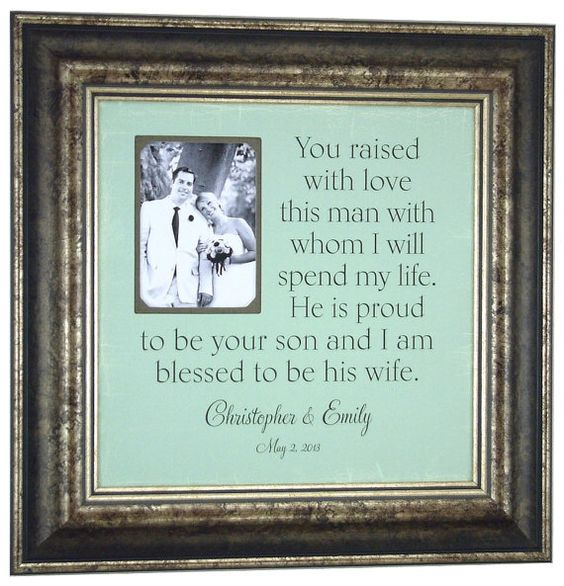 Parents of the Groom Gift Personalized Picture Frame Parents Thank You You RAISED WITH LOVE Father of the Bride Custom Frames ( 16 X 16 )