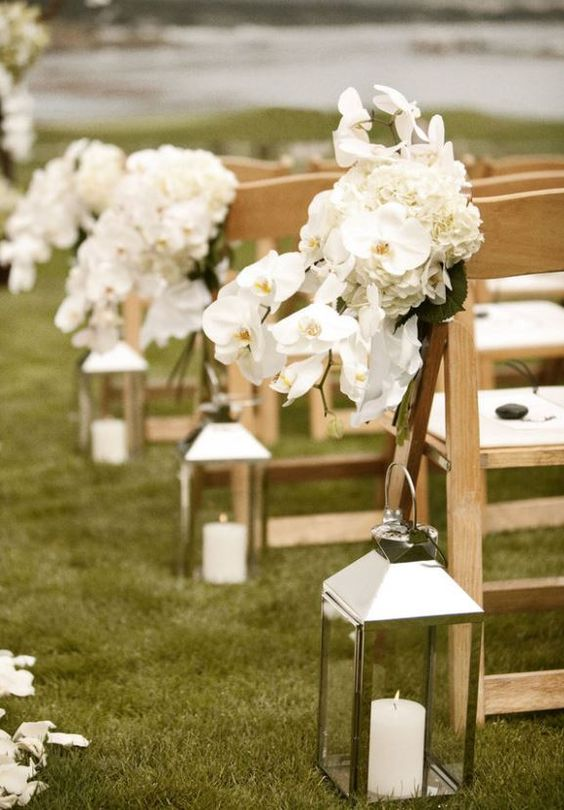 Outdoor wedding aisle decorations lanterns with white