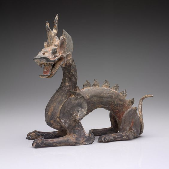 Unknown artist, Chinese; Dragon, 400-600 CE; Earthenware with traces of polychromy, 31.5 x 33 x 15 cm | RISD MUSEUM