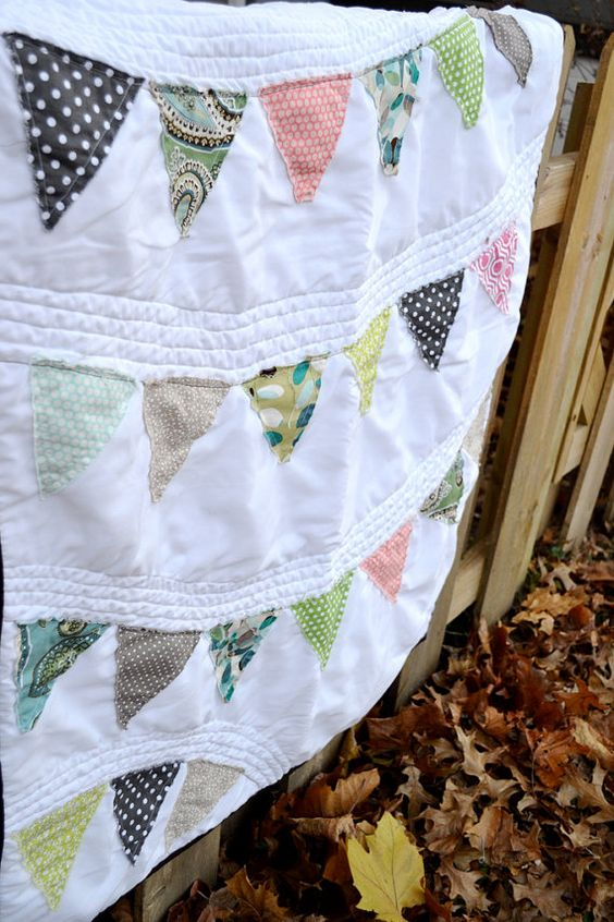 Whimsical Pennant Bunting Baby Quilt Custom by sewmidwestern, $85.00