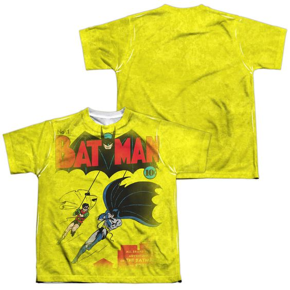 Batman Batman Number One White Youth Poly Black Back T-Shirt (Front & Back Print)
