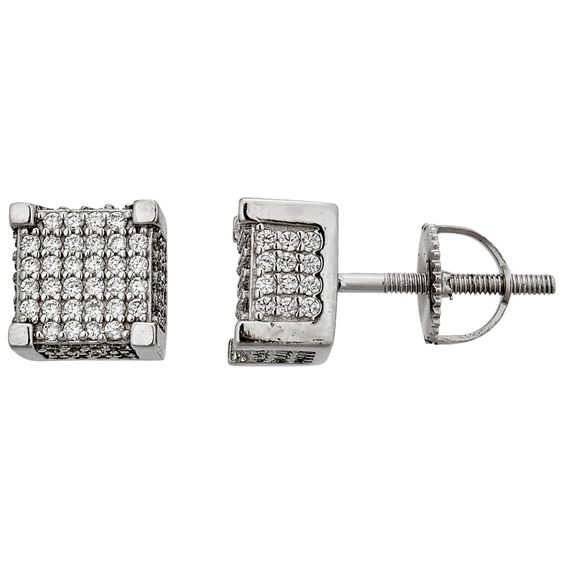 Decadence Sterling Silver Micropave 6x6 3D Square Men's Stud Earrings