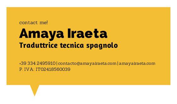 Traductora del inglés/italiano al español.  www.amayairaeta.com
