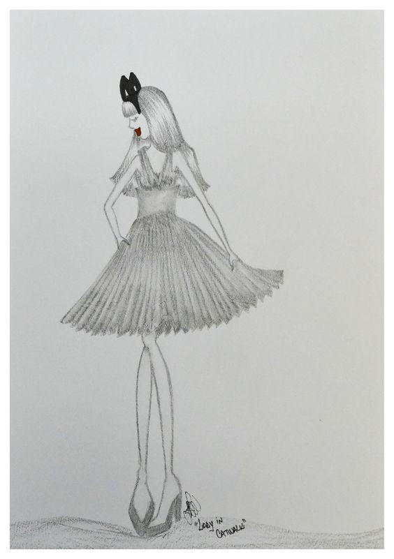 Ilustração de moda em grafite e caneta hidrográfica.