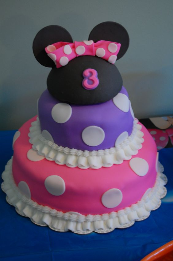 Minnie Mouse cake - I made this for my daughter's 3rd b-day.  She loves pink, purple and Minnie mouse.  The cake is covered with fondant and the ears are made from a fondant covered half of a styrofoam ball.  I made the cake inside purple and had raspberry buttercream filling.  Can't get too much pink and purple!! ;)