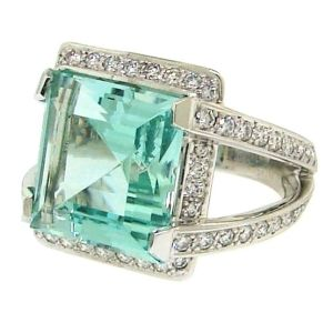 Vintage 1950s Engagement Ring- Aquamarine & Diamond - love the colour by Grathor