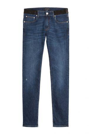 Alexander McQueen Alexander McQueen Slim-Jeans mit Leder – Blau