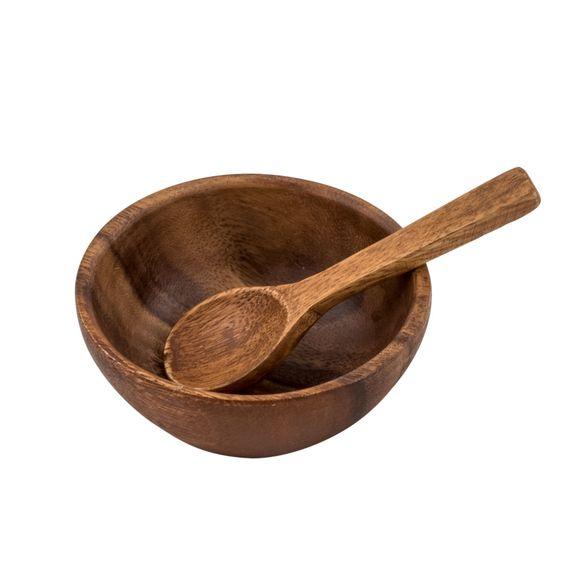 Bowl para salsa y cuchara de madera de acacia. No apto para lavavajillas. No apto para microondas.
