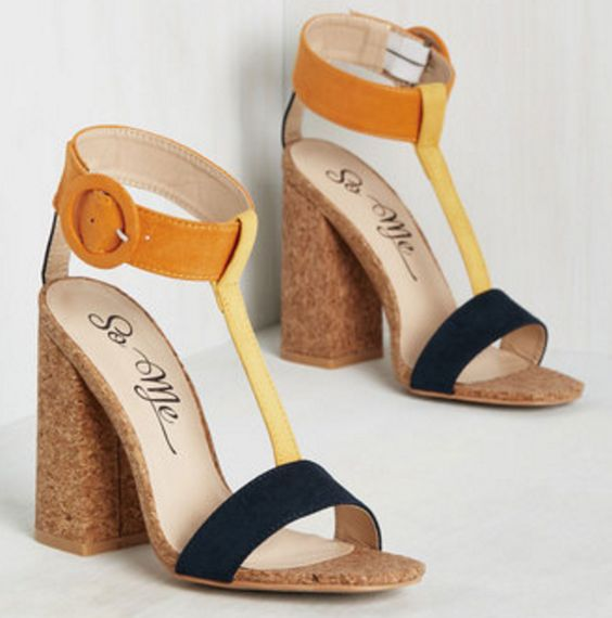 Black Yellow and Marigold T-Strap Cork Heels