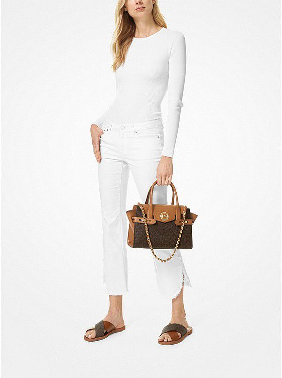 Carmen Small Logo And Leather Belted Satchel Michael Kors Satchel Woven Chain Leather