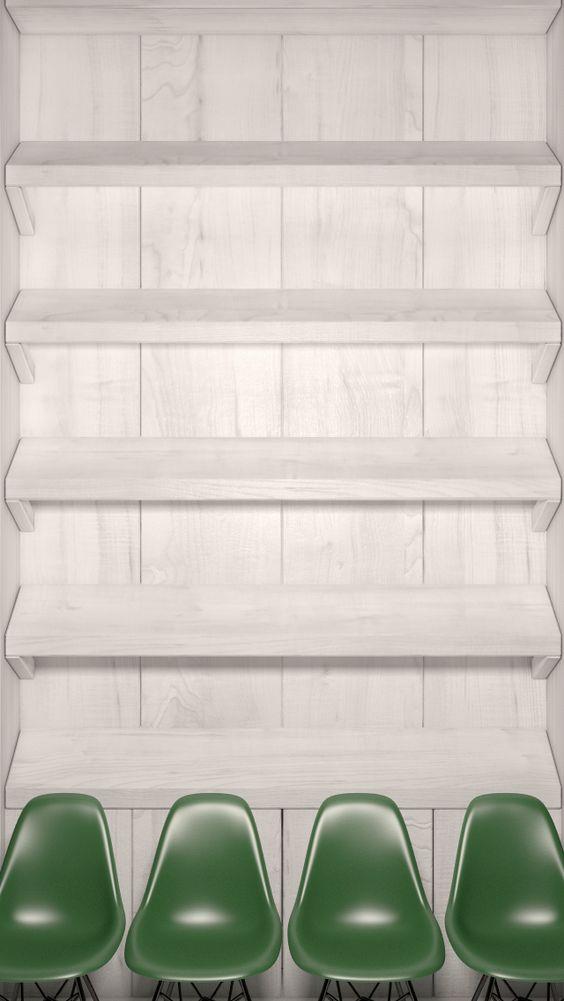白い棚と椅子のおしゃれでかっこいいスマホ壁紙