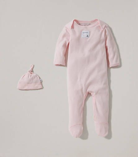 $14- Bee Essential Footie Coverall & Knot Top Hat Set - Burts Bees Baby