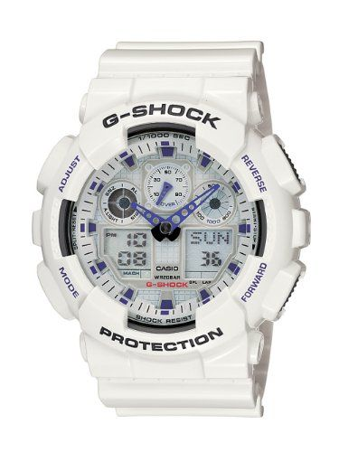 Amazon.com: Casio Men's GA100A-7 G-Shock X-Large Analog-Digital White and Blue Sports Watch: Casio: Watches