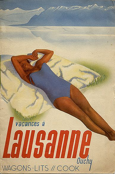 """Travel brochure """"Vacances à Lausanne-Ouchy -- Wagons-Lits // Cook,"""" 1937. Signed Corsaint. Front cover."""