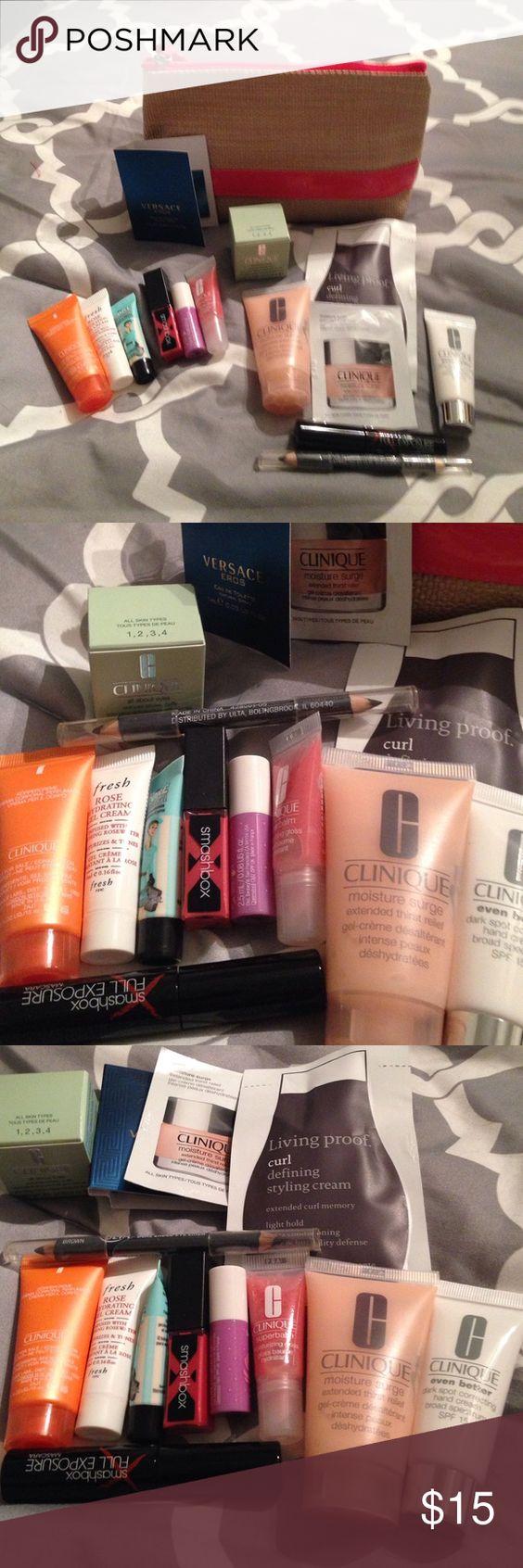 Grab bag of makeup samples. Never used! Ulta makeup bag with lots of samples. Mascara, lip gloss, eyeliner, sample perfume, face creams and hand creams. 14 samples in all. Makeup