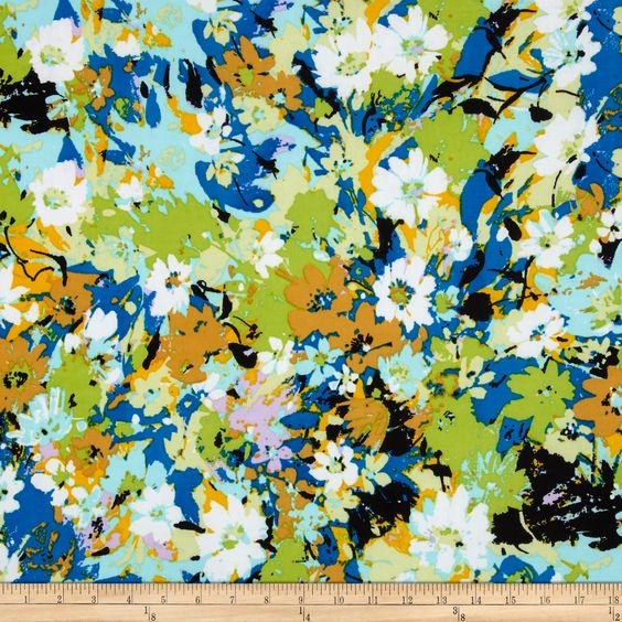 ITY Jersey Knit Floral Blue/Green Fabric