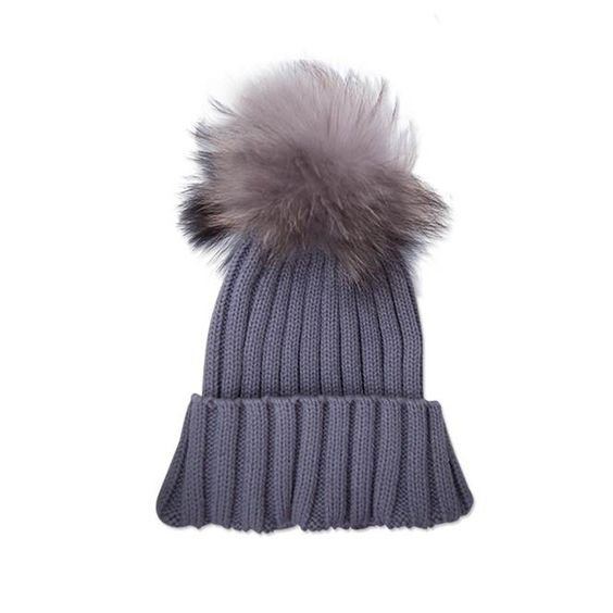 The perfect accessory. An adorable grey beanie hat adorned with the softest detachable fur bobble gives the wearer two hats in one! A full ribbed knitted design with adjustable turn up is ideal for colder weather