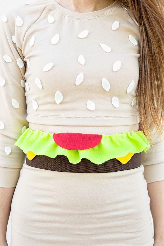 jaja! Disfraz de hamburguesa con sudadera básica, fieltro y falda básica >> DIY Burger Costume
