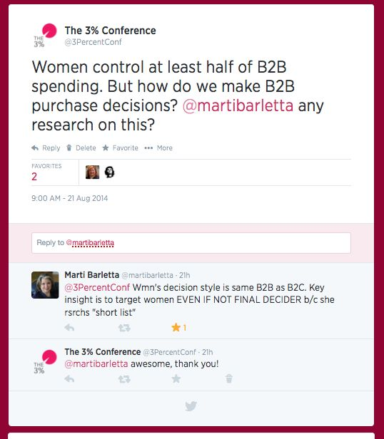 Twitter convo w/@MartiBarletta, the world's foremost expert on today's mightiest market: women about women's purchasing B2B purchasing power #changetheratio