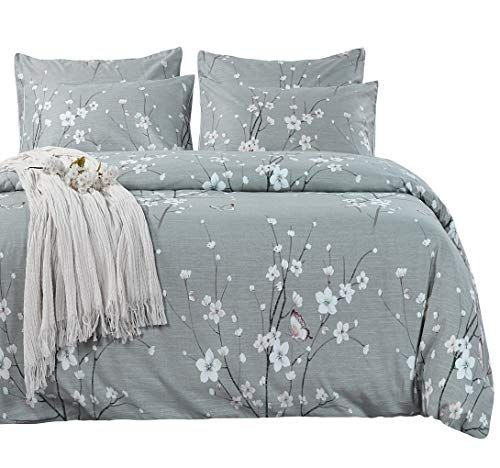 Sexytown Bamboo Cotton Duvet Cover Queen Size 3pc Comforter Cover Set With Corner Ties Floral Print Bedding Set Hypoallergenic Bedding Sets Comforter Cover Bed