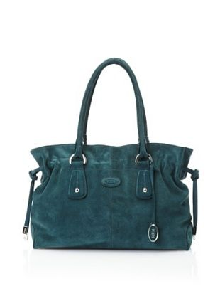 Tod's Women's Suede Satchel, Dark Blue-Green