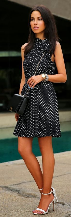 Express Black Dotted Dress by Vivaluxury -- 50 Stylish Summer Outfits - Style Estate -