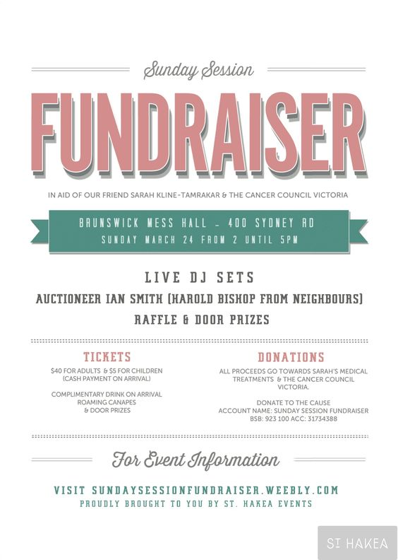 Sunday Session Fundraiser event flyer. Proudly bought to you by St ...