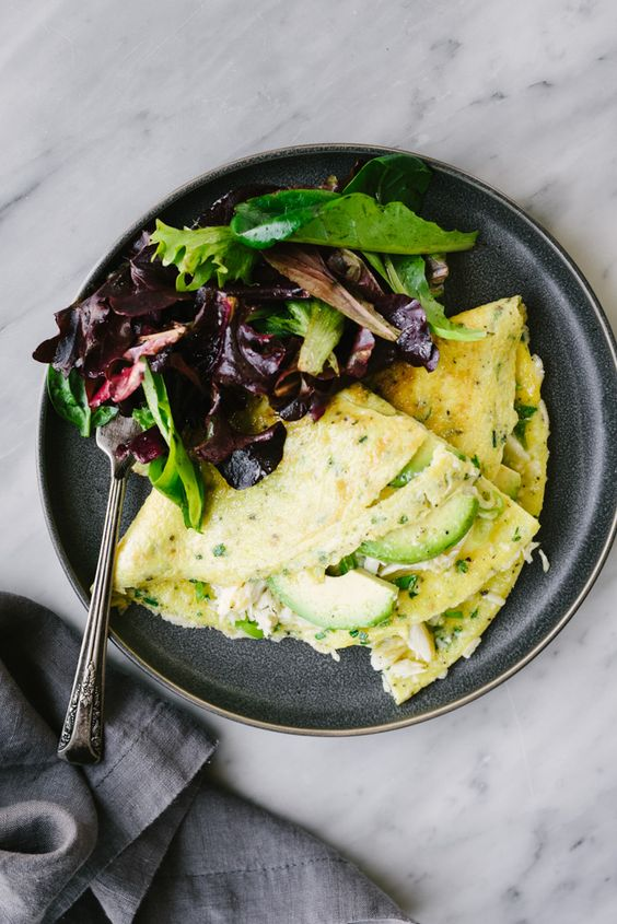 Crab Omelet with Avocado and Herbs