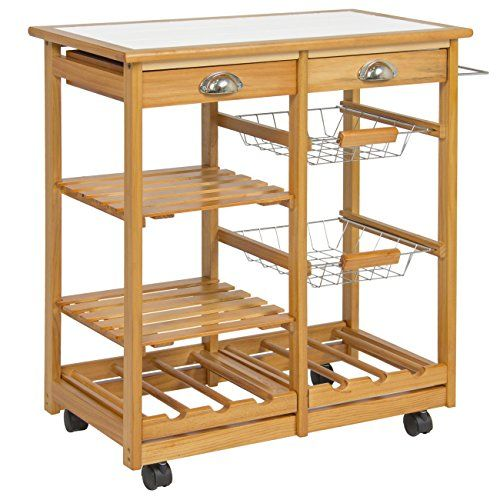 Best Choice Products Wood Kitchen Storage Cart Dining Trolley Kitchen Storage Cart Kitchen Storage Rack Dining
