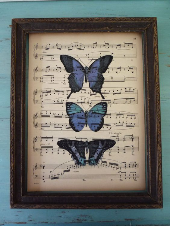 Print butterflies on to sheet music and frame