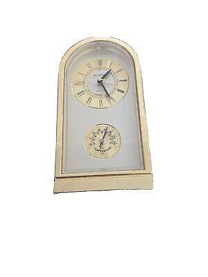 Bulova Quartz Desk Alarm Clock Gold Tone With Thermometer No 4re781 Japan Fashion Home Garden Homedcor Clocks Ebay In 2020 Clock Desk Alarm Clock Boxes For Sale