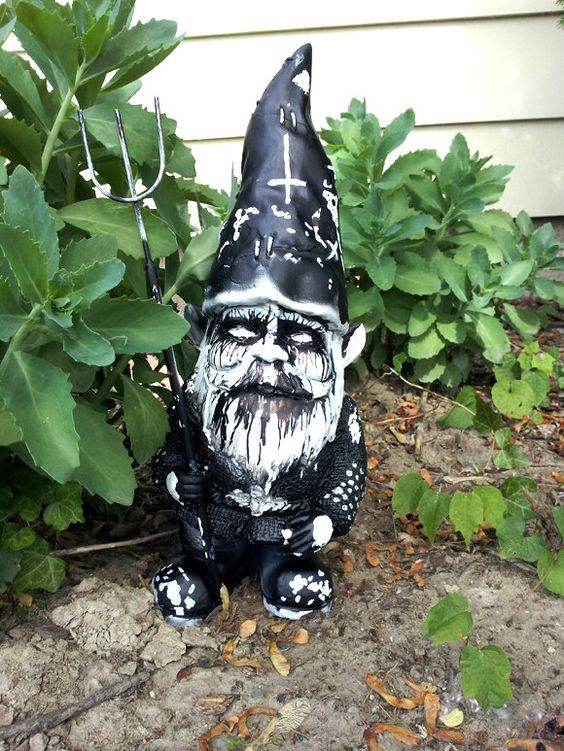 Black Metal Gnome    I Think The Folks From ETSY Missed The Upside Down  Cross... LOL!!!!! | Garden Shit | Pinterest | Black Metal, Gnomes And Metals