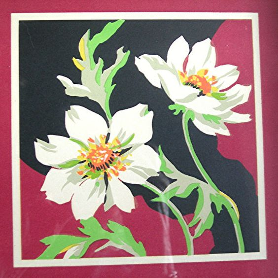 2 Mid-Century Flower Prints Painted Wood by AtticDustAntiques