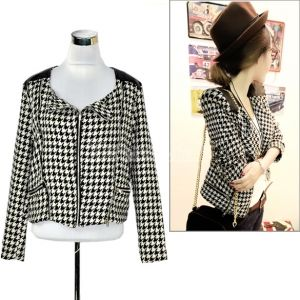 $10.32 Women Fashion Lapel Houndstooth Small Coat Jacket